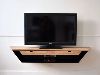 Meuble TV contemporain et aérien noir et bois