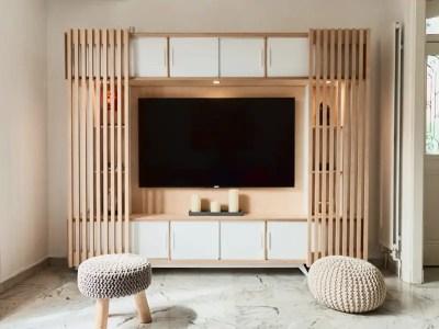 Meuble TV scandinave avec claustras