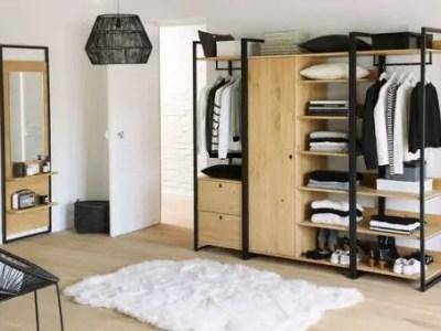 dressing en bois et métal ouvert style industriel