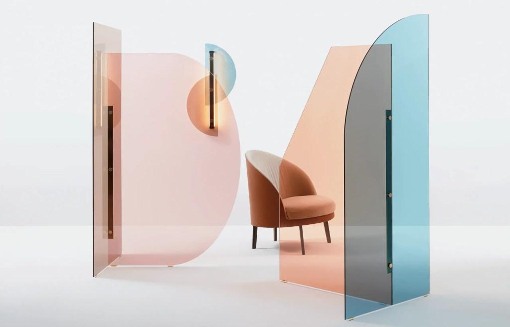 panneau de séparation en verre coloré
