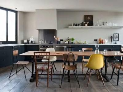 cuisine équipée style industriel avec table à manger