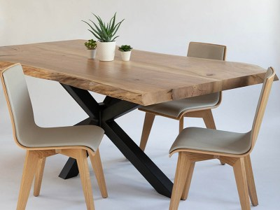 Table live edge en orme pieds mikado