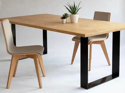 Table industrielle en chêne pieds U