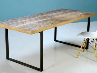 Table plancher de wagon et pieds en U