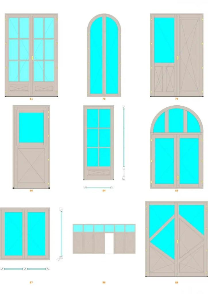 exemple de formes de fenêtre réalisables sur menuiPro