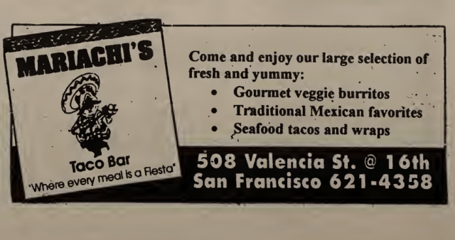 Mariachi's Taco Bar on Valencia ad in North Mission News