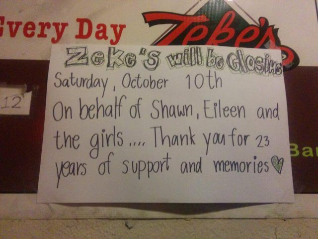 Zeke's Sports Bar closed in 2015 after 2 decades on Brannan and 2nd St near the ballpark when the landlord refused to renew the lease