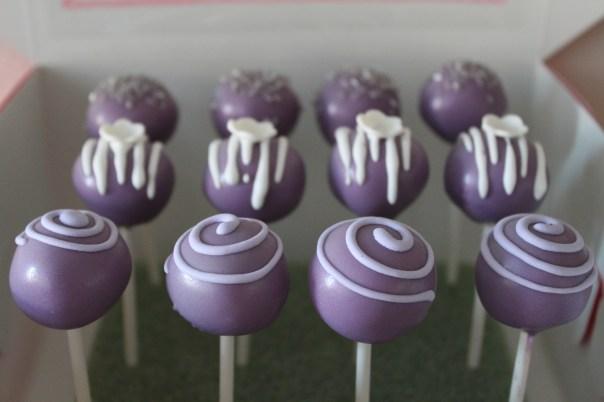 assorted purple cake pops