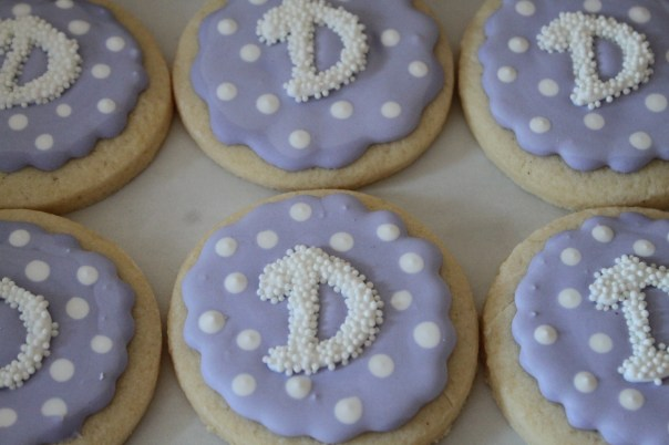 purple monogram cookies