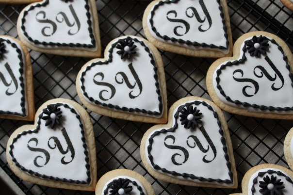Black and White Monogram Cookies