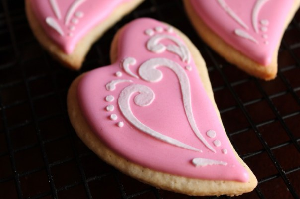 Pink and White Whimsical Heart Cookies