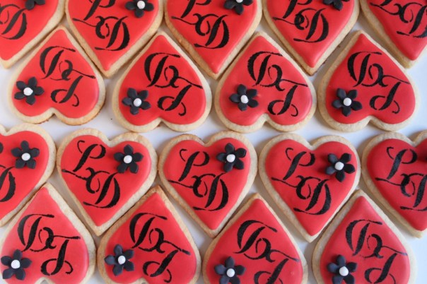 Heart Shaped Monogram Cookies