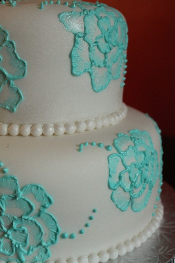 Tiffany Blue Brush Embroidery Cake
