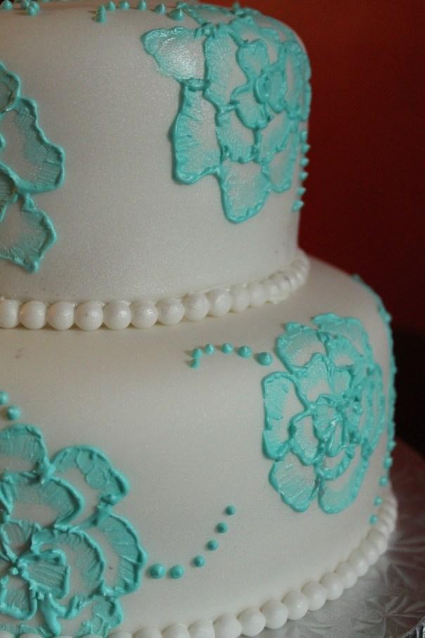 Tiffany Blue Brush Embroidery Cake
