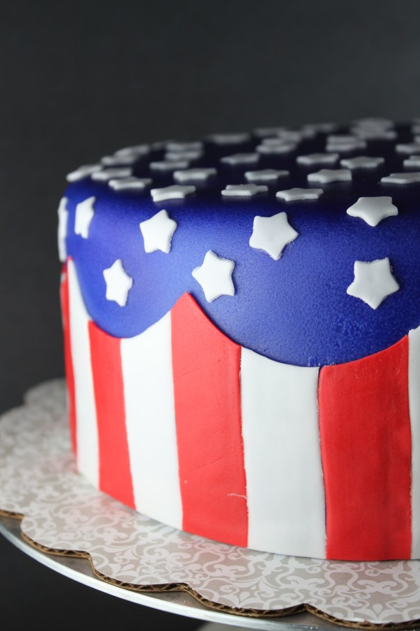 American Flag Striped Cake