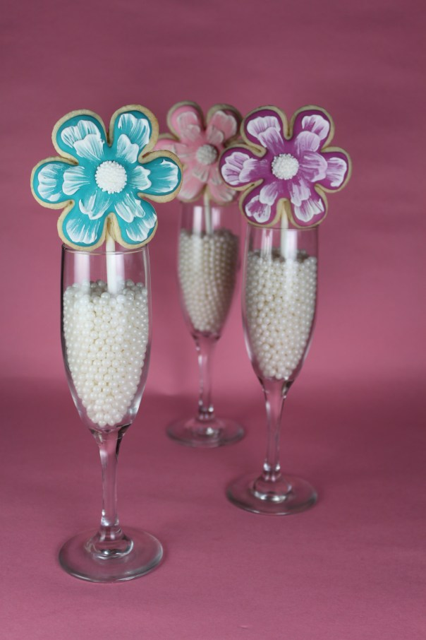 Brush Embroidery Flower Cookie Pops