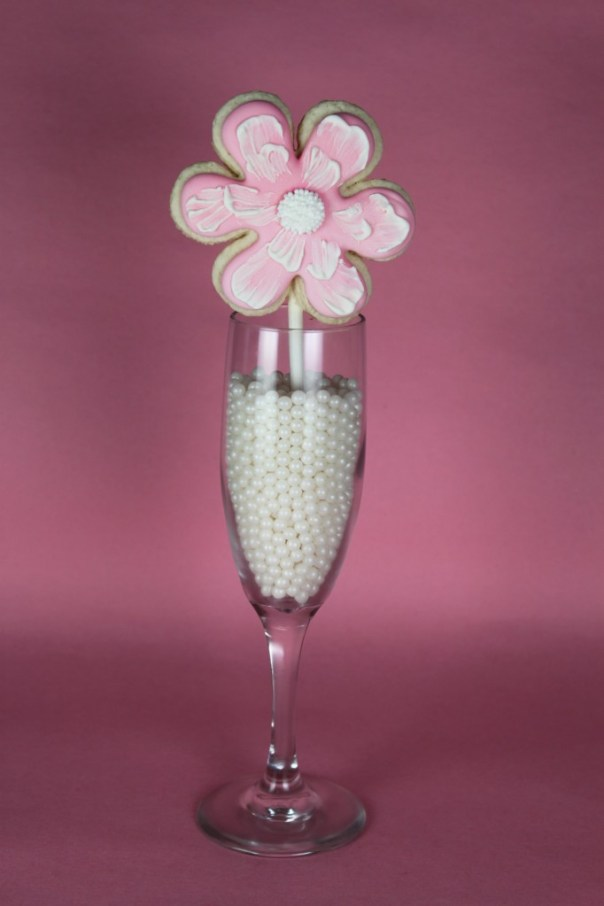 Pink Brush Embroidered Cookie Pop