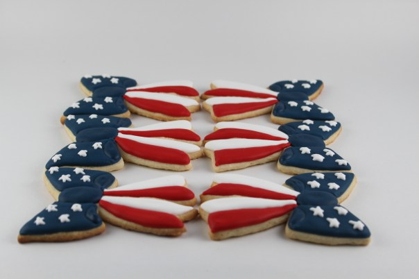 Red, white, and blue bow cookies