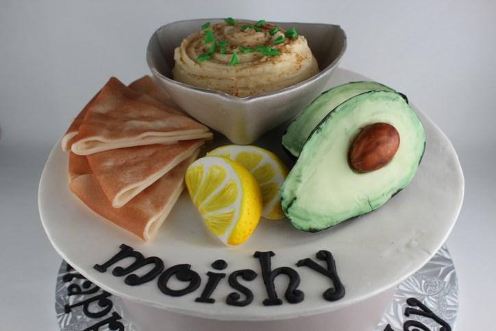 Fondant avocado, lemons, and pita