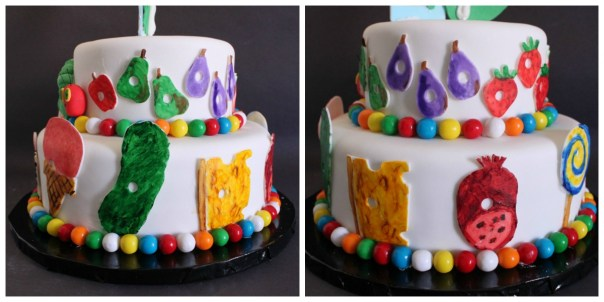 The Very Hungry Caterpillar Cake Collage