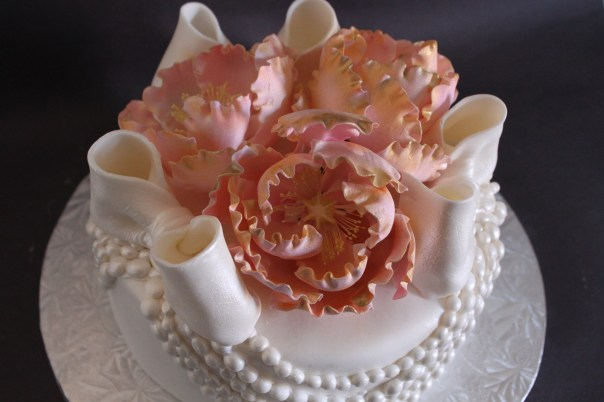 Pink and Gold Gum Paste Flowers
