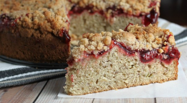 Strawberry Banana Crumb Cake Slice