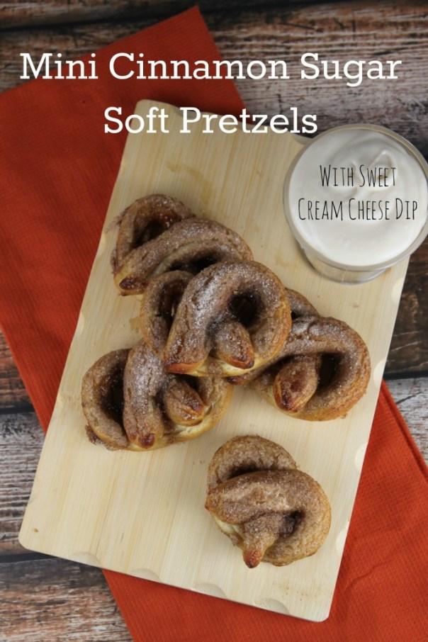 Mini Cinnamon Sugar Soft Pretzels with Sweet Cream Cheese Dip