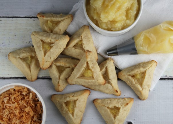Coconut Hamantaschen with Pineapple Filling