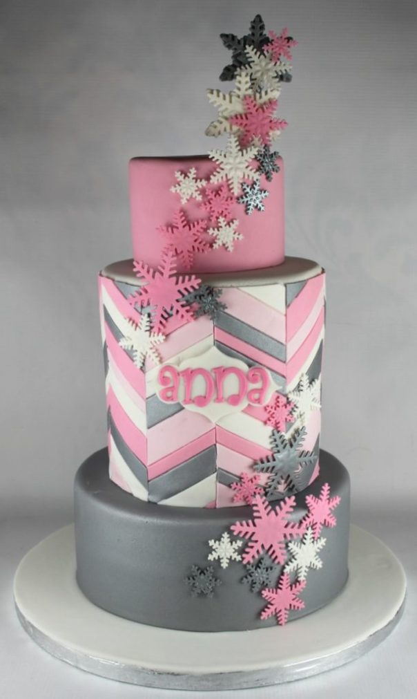 Pink and Silver Snowflake Cake