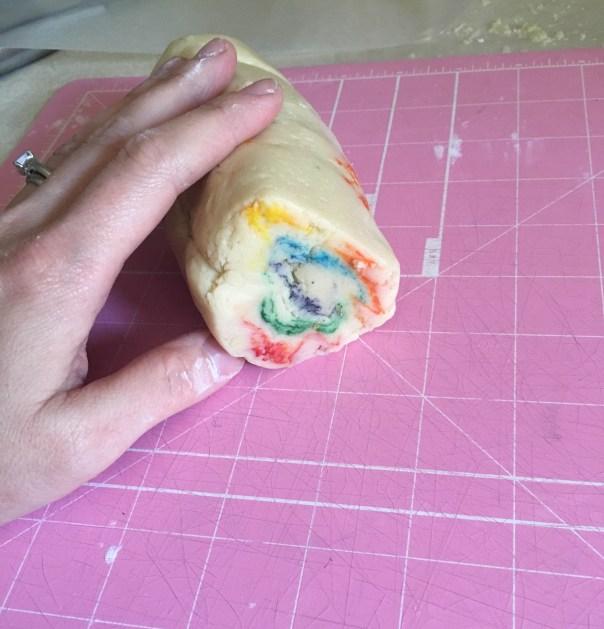 swirly rainbow cookie dough