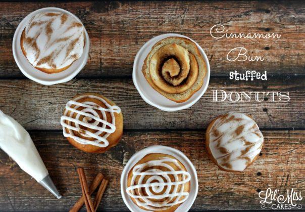 Cinnamon Bun Stuffed Donuts | Lil Miss Cakes