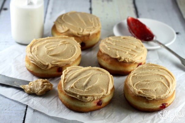 Peanut Butter Frosted Jelly Donuts