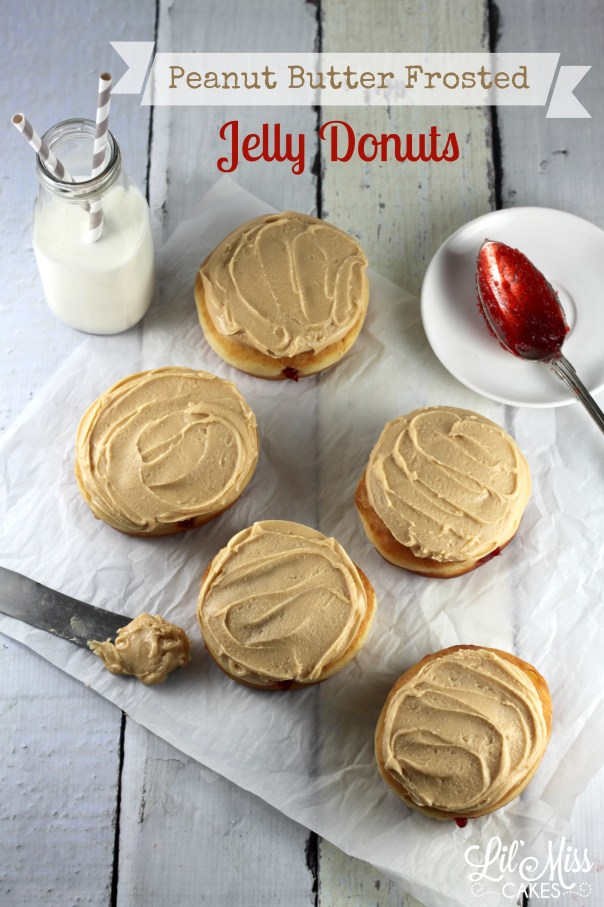 Peanut Butter Frosted Jelly Donuts | Lil Miss Cakes