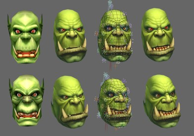 On the left, we have a pair of original Orc faces. The second column represents what you're seeing right now in the beta build, showing texture variation but the same facial geometry. The third column shows a posing rig to demonstrate how we're customizing each of the face appearances further. On the far right, you can see the final product.