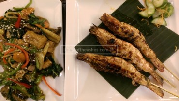 Mushroom and Tofu Stir Fry to the left, Prawns to the right (bit of a hit and miss too)