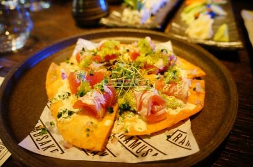 Tuna Sashimi Pizza served with Truffle Ponzo and Wasabi Tobiko