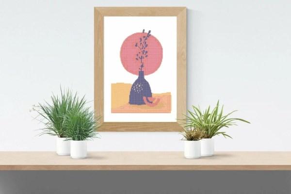 Point De Croix Abstrait Fleur Dans Son Pot