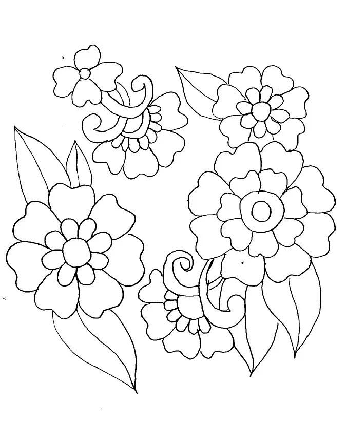 dessin fleur brodée