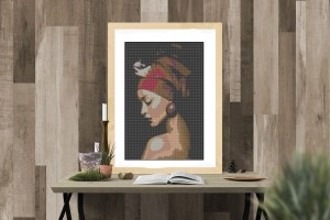 Point de croix femme au turban Lilou