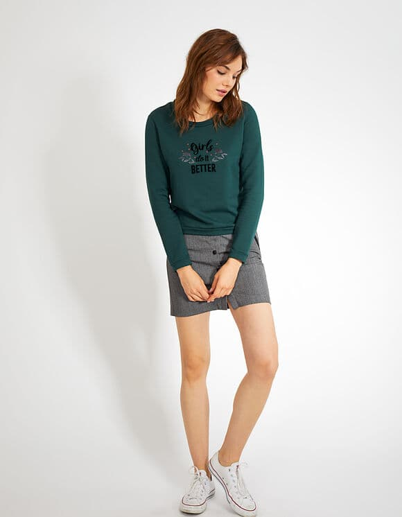 IKKS-SWEAT VERT PINEGREEN GIRLS DO IT BETTER I_CODE-QR15004-58_7