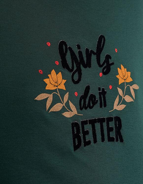 IKKS-TEE_SHIRT VERT PINEGREEN GIRLS DO IT BETTER I_CODE-QR10124-58_5