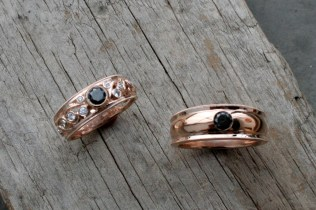 Rose Gold Vine Band with Black Diamond Center Stone + Rose Gold Band with Gypsy Set Black Diamond