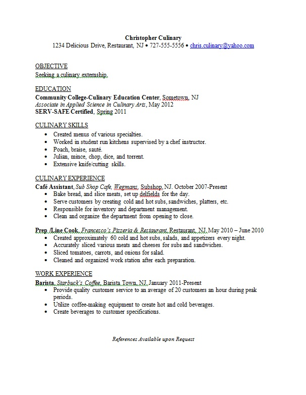 resumes for chefs sample resumes sample culinary resume objective chef resume objective