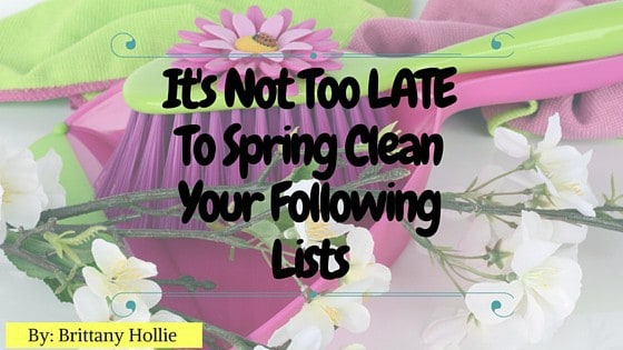 Read my original post on why It's Not Too Late to Spring Clean Your Following Lists over at Blavity. -- lilsweetspiceadvice.com