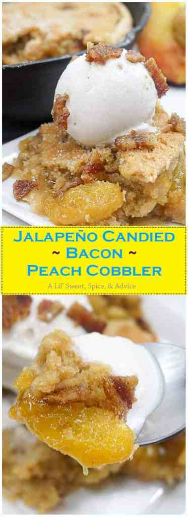 Jalapeño Candied Bacon Peach Cobbler--This is not your grandmother's peach cobbler. This double crust peach cobbler gets a lil' kick from diced jalapeño and a little smokey, crunchiness in the topping from the candied bacon.--lilsweetspiceadvice.com