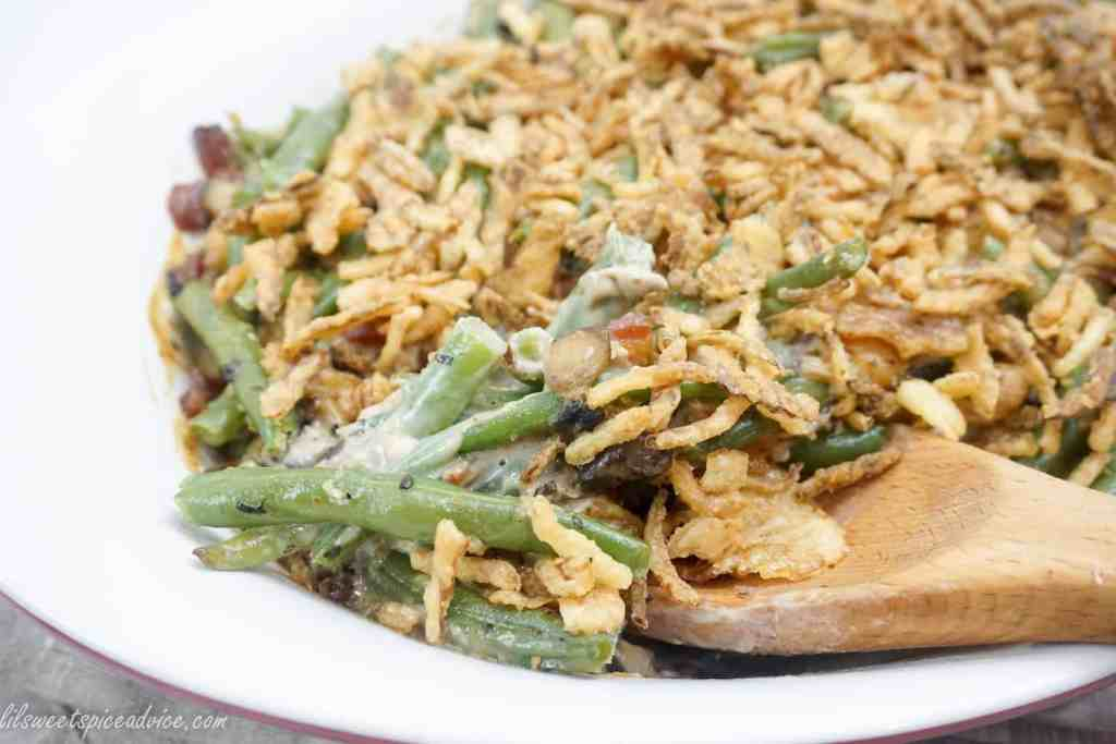 Homemade Green Bean Casserole-- This is literally the best homemade green bean casserole with scratch made organic mushroom sauce.-- lilsweetspiceadvice.com #greenbeancasserole #scratchmadegreenbeancasserole #homemademushroomcreamsauce