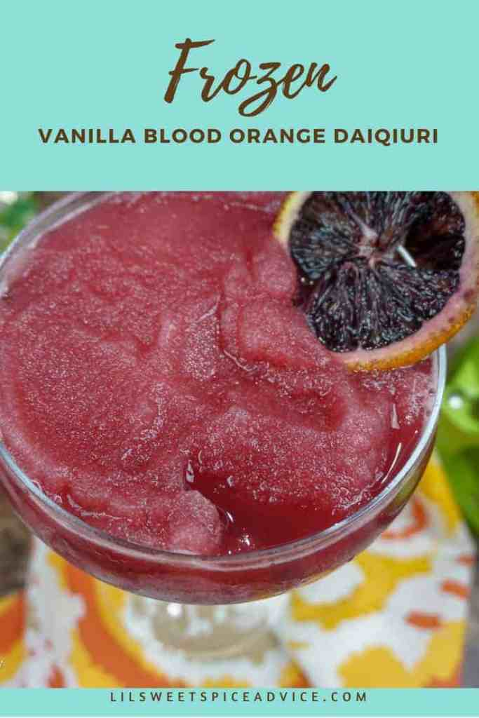 Frozen Vanilla Blood Orange Daiquiri -- This Frozen Vanilla Blood Orange Daiquiri screams spring/summer. It has an unexpected addition of Chambord which perfectly complements the raspberry notes in the blood oranges. --lilsweetspiceadvice.com #bloodoranges #frozendaiquiri #bloodorangedaiquiri #orangedaiquiri