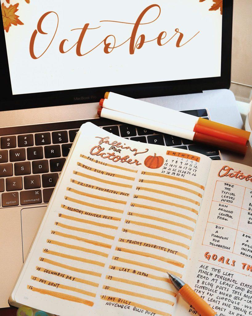 October Bullet Journal Spread for 2019