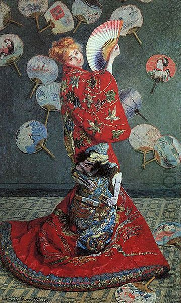 Claude Monet. Monet painted his wife, Camille, posing in a kimono against the backdrop of his fan collection