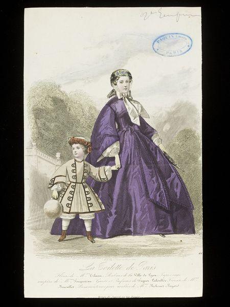 Fashion Plate by François-Claudius Compte-Calix (1813 - 1880),Braequet (engraver) , France, c. 1860, Victoria & Albert Museum (E.22396:330-1957) Gallery location: Prints & Drawings Study Room, level C, case 96, shelf D, box 15